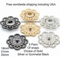 Flower snap studs, Silver press studs, Gold snap studs. Free worldwide shipping